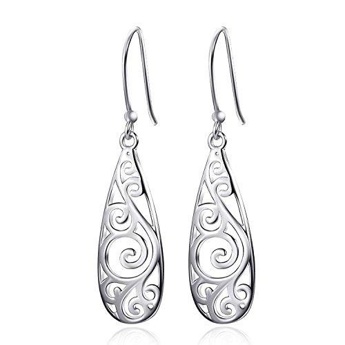 Robert JC 925 Sterling Silver Filigree Drop Earrings Vintage Ladies Dangle Earring for (925 Sterling Silver Hanging)