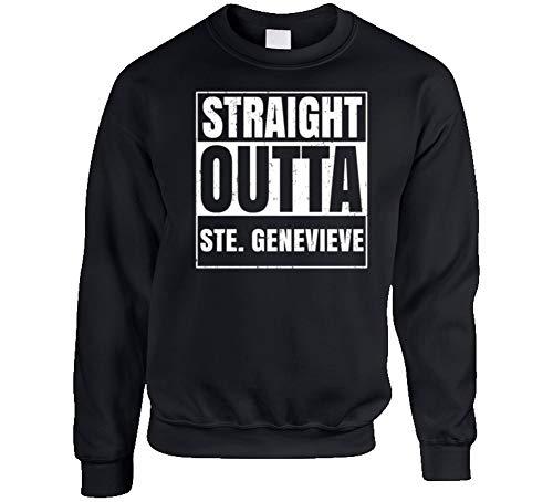 (Tshirtshark Straight Outta Ste. Genevieve Missouri City Grunge Parody Crewneck Sweatshirt XL Black)