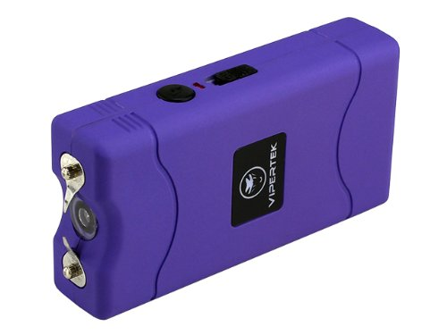 VIPERTEK VTS-880 - 30 Billion Mini Stun Gun - Rechargeable with LED Flashlight, Purple