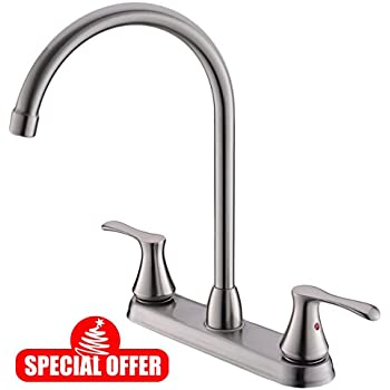 Comllen Commercial Two Handle Brushed Nickel Widespread Kitchen Faucet, Stainless Steel High Arc Kitchen Faucet