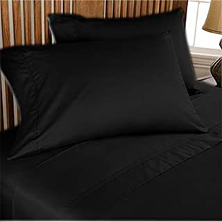 500 TC ULTRA SOFT SILKY 100% EGYPTIAN COTTON 4 PIECE LUXURIOUS SHEET SET CAL-QUEEN BLACK SOLID BY PEARLBEDDING