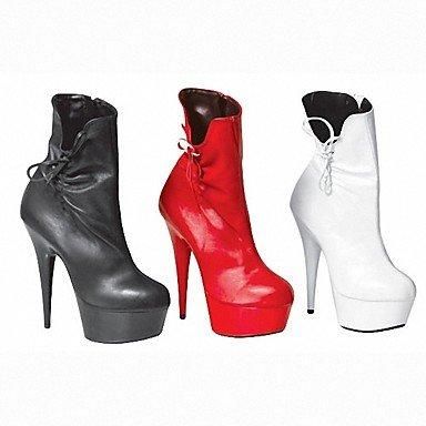 Heart&M Damen Stiefel Modische Stiefel PU Herbst Winter Party & Festivität Tassel(n) Rüschen Gerafft Stöckelabsatz Weiß Schwarz Rot 12 cm & mehr ruby