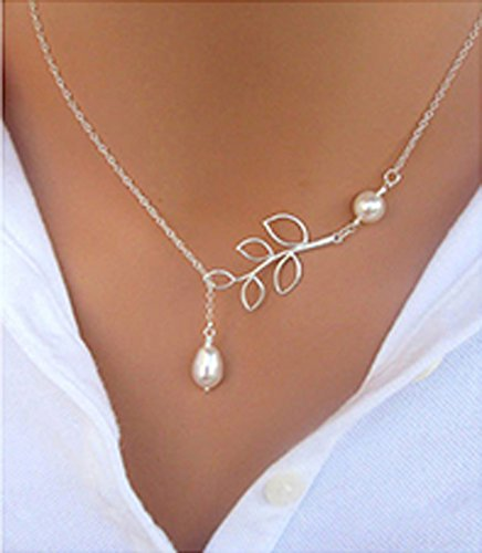 Silver Tree leaf Pearl Pendant Tassel Alloy Short Necklace ()