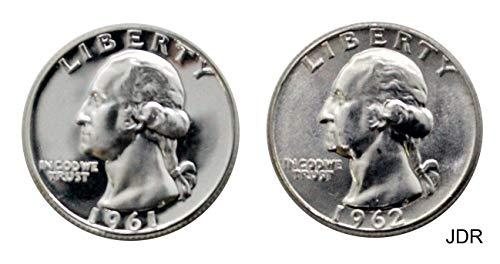 1961 Washington Quarter Proof - 1961 P Washington Quarter Proof & 1962 P Washington - 2 Coin Set Quarter BU
