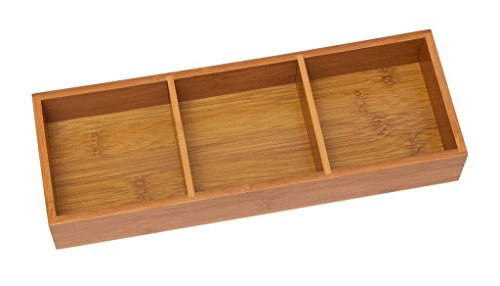 Lipper International 823 Bamboo Wood 3-Compartment Organizer Tray, 11 5/8