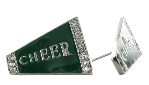 Flat Cheer Megaphone Rhinestone Stud Earrings - Dark Green Enamel with Clear Crystals (Small Green Megaphone)