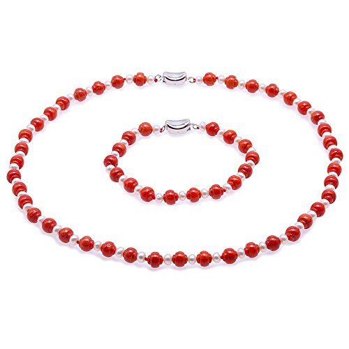 JYX Pearl Coral Necklace Set Delicate 7mm Carved Red Coral and White Pearl Necklace and Bracelet Set ()