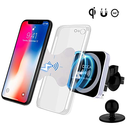 DOCA Magnetic Wireless Car Charger, QI Wireless Car Charger Air Vent Mount Holder for Samsung Galaxy Note 8 S8/S8 Plus S7 Edge, iOS,Android & All QI Enabled Devices by DOCA