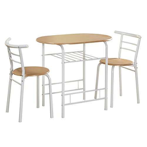 Chloe 2-tone 3-piece Bistro Set with lower storage shelf, Perfect for smaller dining spaces (Storage Sale Breakfast Nook For With)