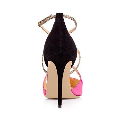 bombas redonda tobillo rosa D'Orsay sandalias del color Corss vestido aguja correa tacón mujer de para tiras punta Onlymaker de hebilla alto de Criss tacón Sqw4PRw5