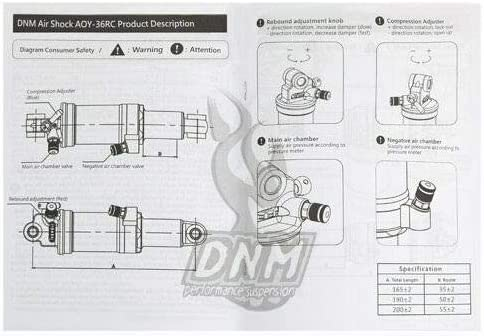DNM AO42RC Mountain Bike Bicycle Air Rear Shock with Lockout 165 x 38mm ST1600