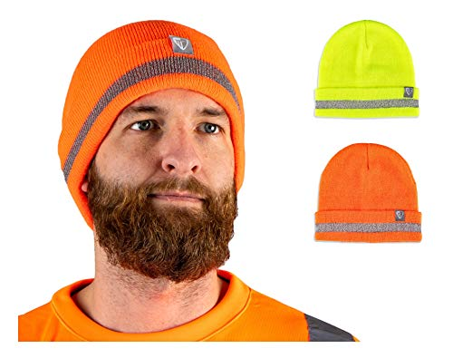 Armorbilt Safety Beanie - Reflective High Visibility Yellow/Orange - Winter Cold Weather Knit Hat - Perfect Cap for Construction, Running, Biking, Workwear Clothing (Orange)