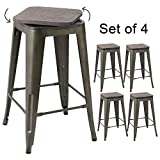Devoko Metal Bar Stool 24'' Indoor Outdoor Swivel Stackable Barstools Modern Industrial Vintage Gun Counter Free Rotating Wood Top Bar Stools Set of 4 (Gun)