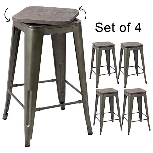 (Devoko Metal Bar Stool 24'' Indoor Outdoor Swivel Stackable Barstools Modern Industrial Vintage Gun Counter Free Rotating Wood Top Bar Stools Set of 4 (Gun))