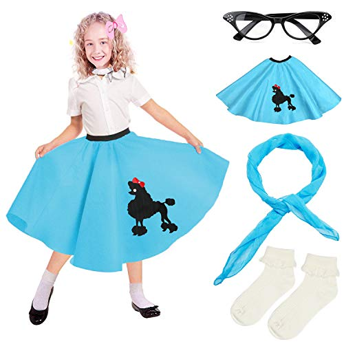 Beelittle 4 Pieces 50s Girls Costume Accessories Set - Vintage Poodle Skirt, Chiffon Scarf, Cat Eye Glasses, Bobby Socks (E-Blue) -