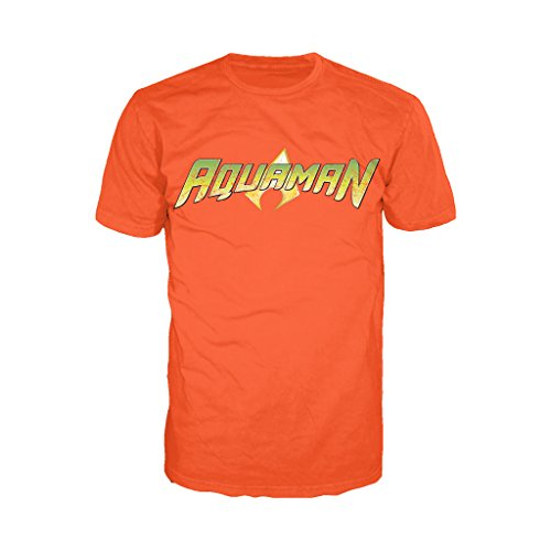 Urban Species DC Comics Aquaman Distressed Logo Official Men's T-Shirt (Orange) (X-Large)