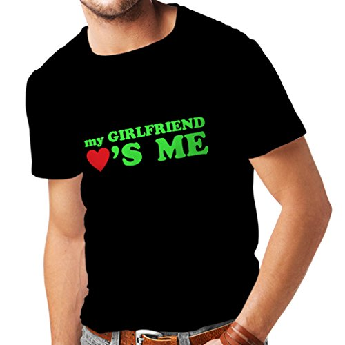 T shirts for men My girlfriend loves me! boyfriend gifts for St. Valentine (XX-Large Black Green) (Naughty School Girl Outfit Ideas)