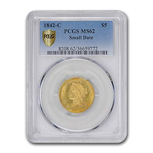 1842 C $5 Liberty Gold Half Eagle MS-62 PCGS (Small Date) G$5 MS-62 PCGS