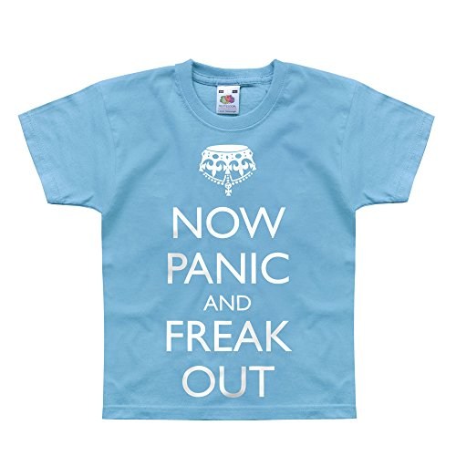 Price comparison product image Nutees Now Panic And Freak Out Zombies Unisex Kids T Shirts - Light Blue 14 / 15 Years