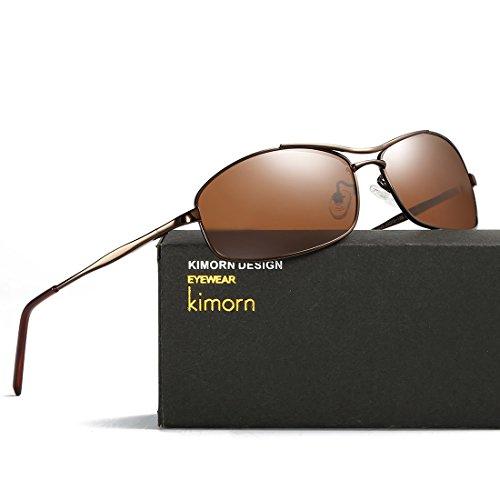 kimorn lunettes Hommes Rectangulaire Marron K0559 Des Cadre De Lunettes Soleil Polarisé Métal rqUnzAwrI