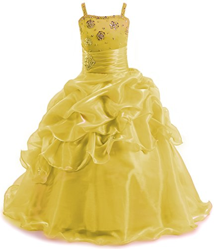 SHANGSHANGXI Pageant Dresses for Juniors Spaghetti Straps Floor Length Girls Ball Gown Prom Dress Yellow,12 -