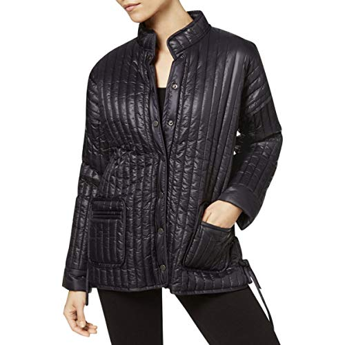 Eileen Fisher Womens Channel Quilt Piping Trim Basic Coat Black M