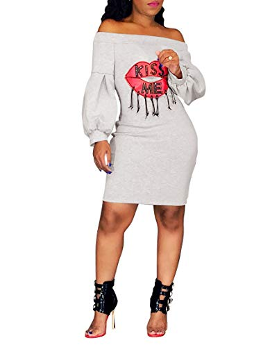 Ophestin Women Sexy Off The Shoulder Lip Letters Printed Puff Long Sleeve Bodycon Midi Long Dress White S ()