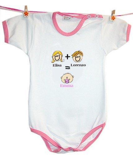 Body MAMMA + PAPA'= IO con nomi personalizzati - Colore Rosa