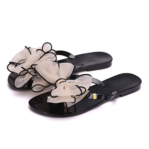 T-JULY Bow Women Flat Sandals Summer Style Candy Color Flip-Flops Shoes Woman Jelly Shoes Slippers Summer Shoes Apricot from T-JULY
