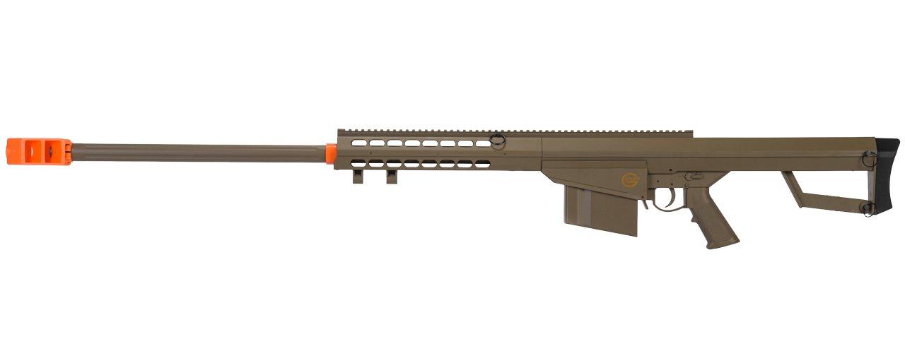 Lancer Tactical M82 50 Cal Spring Airsoft Sniper Rifle Gun Marksman FPS 435 (Tan)