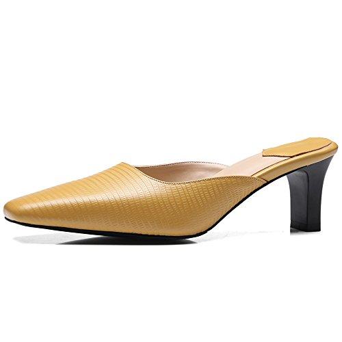 Nine Seven Cuero Moda Puntera Cuadrada Tacones de Vestir de Tacón Grueso para Mujer amarillo