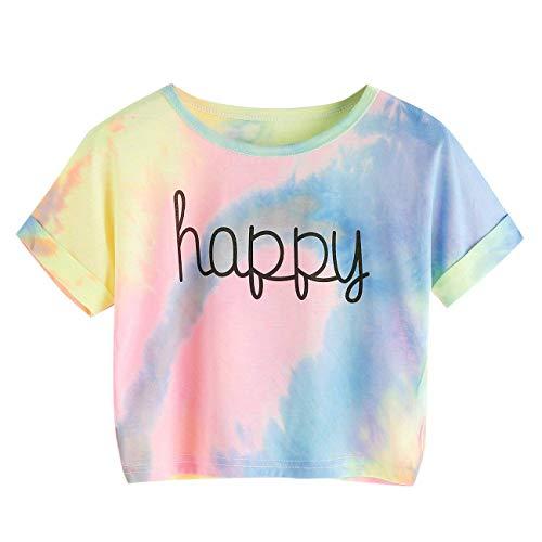 Huojingli Women's Tie Dye Letter Print Crop Top T Shirt Blouse -