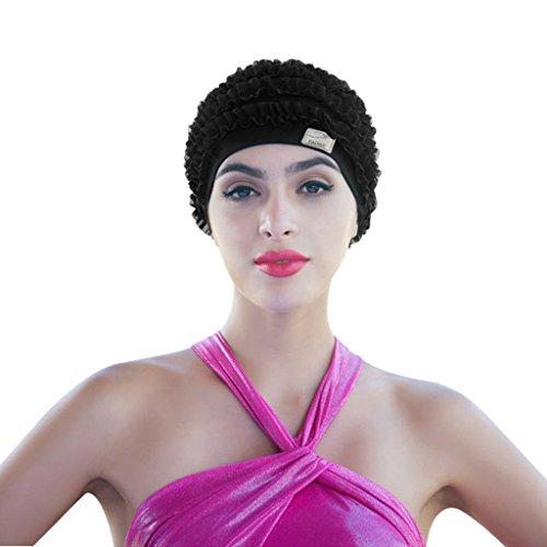 Embossed Spandex Hat - Vintage Lycra Swim Cap Floral Petal Retro Bathing Caps for Women Girl Long Hair