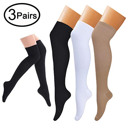 Compression Socks (3 pairs) Knee High Compression Sock for Women & Men BEST Stockings for Running, Medical, Athletic, Edema, Diabetic, Varicose Veins, Travel, Pregnancy (Black+Nude+White,Small/Medium)