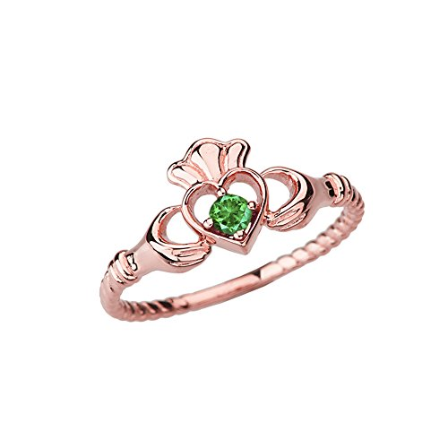 Dainty 10k Rose Gold Open Heart Solitaire Emerald Rope Claddagh Promise Ring (Size 7.5)