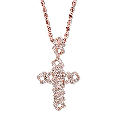 TOPGRILLZ 14K Gold Plated Iced Out Cuban Link Chain Cross Pendant Necklace for Men Stainless Rope Hip Hop (Rose Gold)