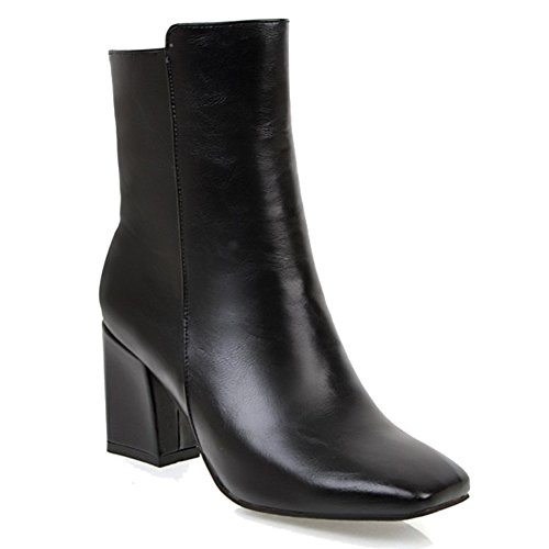 HiTime Ladies Stylish Square Toe Short Boots High Block Heels Fashion Boots Zip Casual Bootie Black NguI6