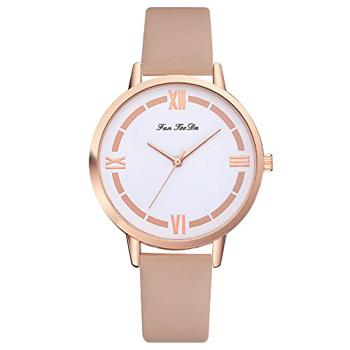 POTO Women Watches Clearance Sale,Fashion Ladies Leather Band Analog Quartz Round Dress Wrist Watch Bracelet Belt Watches Gift Watches (Coffee)
