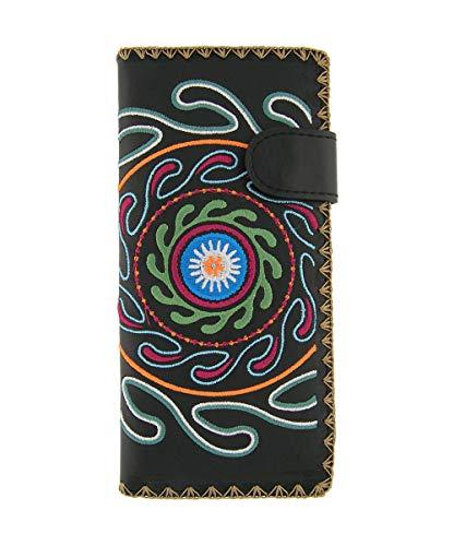 LAVISHY Embroidered Suzani Pattern Vegan/Faux Leather Large Flat Wallet (Black)