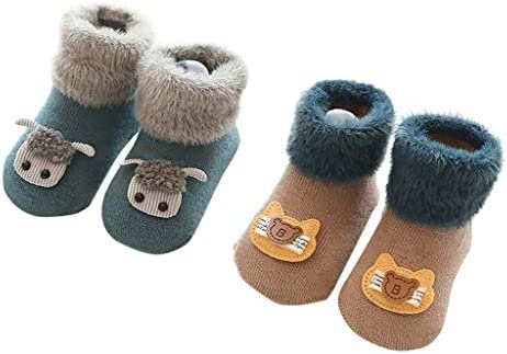 2組の男の子の女の子の綿の子供の床のソックスの滑り止めの赤ん坊のソックスの靴秋冬 防寒 厚い 保温 就寝 睡眠用 厚手 暖か 冬の靴下 おしゃれ 快適 室内 室外スリッパ ギフトソッ クリスマス
