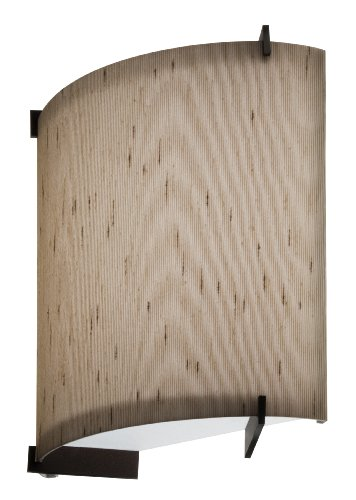 Lithonia Lighting DLSD7 BZ F08 Decorative Indoor Half Cylinder Umbria Linen with Prongs Sconce, Bronze (Umbria Linen)