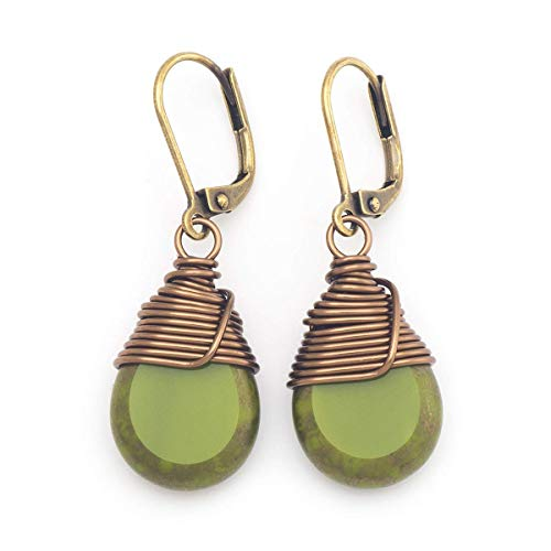 Olive Green Czech Glass Wire-wrapped Drop Antique Bronze Lever-back Earrings 1.4 - Czech Glass Earrings