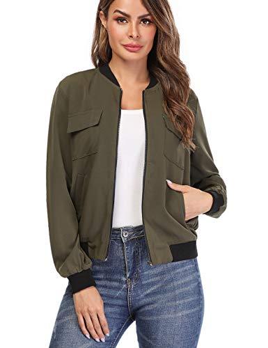 - MISS MOLY Women's Zip Up Bomber Jackets Long Sleeve Casual Lightweight Biker Coat Green L