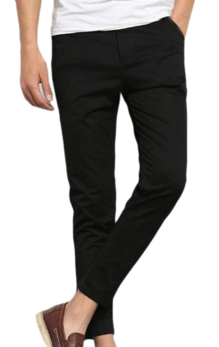Alion Mens Casual Soft Ankle Length Straight Athletic Chino Pant