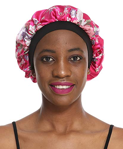 Bonnet Sleeping Cap Chemo Hat - Floral Women Wide Band Salon Satin Sleep Slouch Slouchy For Summer silk hair scarf for Long Curly Natural Tifara Beauty Curling Rods Lottabody Wrap Me Foaming Mousse ()