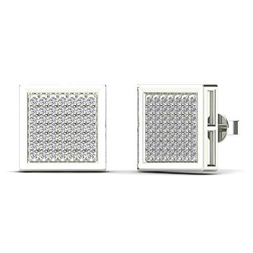JewelAngel Men's 10K White Gold 1/3ct TDW Diamond Square Stud Earrings (H-I, I1-I2)