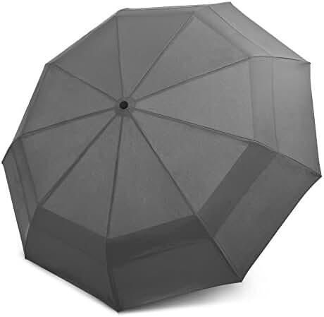 EEZ-Y Compact Travel Umbrella w/ Windproof Double Canopy Construction - Auto Open Close