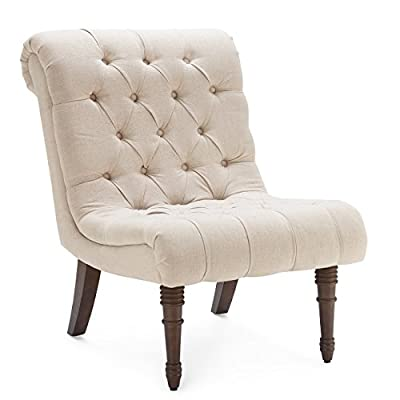 Belleze Beige Accent Chair Living Room Casual Backrest Lounge Low Rolled Back Seat Cushion w/Wood Legs - Perfect alone or in a pair, this chair will last for years as it retains its beauty and elegance. Low-slung wing chair will work well in either modern or a traditional environment due to the tufted accent style chair Upholstered in a plush and luxurious fabric, these gorgeous chairs feature solid wooden frames that are just as sturdy as they are stylish. - living-room-furniture, living-room, accent-chairs - 412InQT8zCL. SS400  -