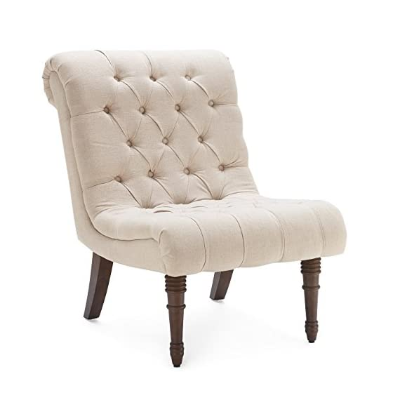 Belleze Beige Accent Chair Living Room Casual Backrest Lounge Low Rolled Back Seat Cushion w/Wood Legs - Perfect alone or in a pair, this chair will last for years as it retains its beauty and elegance. Low-slung wing chair will work well in either modern or a traditional environment due to the tufted accent style chair Upholstered in a plush and luxurious fabric, these gorgeous chairs feature solid wooden frames that are just as sturdy as they are stylish. - living-room-furniture, living-room, accent-chairs - 412InQT8zCL. SS570  -