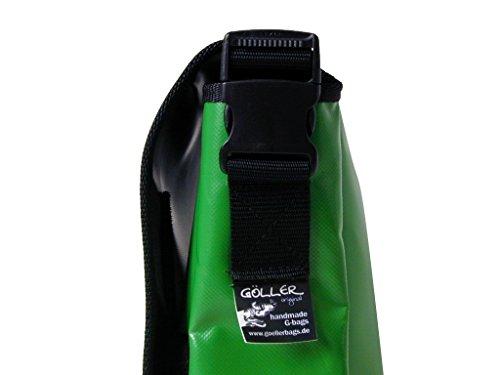 Schultertasche Schmetterling Smaragdgrün/Elfenbein H 30, B 32, T 11